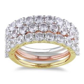 Miadora Tri-color Silver White Sapphire Ring Set