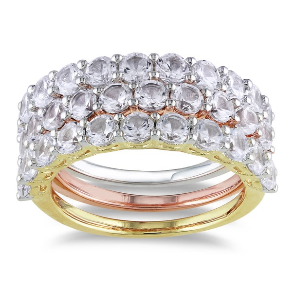 Miadora Tri-color Silver White Sapphire Ring Set