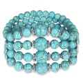 Miadora Silver Tone Created Turquoise Elastic Bracelet
