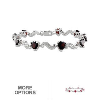 Miadora Sterling Silver Gemstone and Diamond Heart Bracelet
