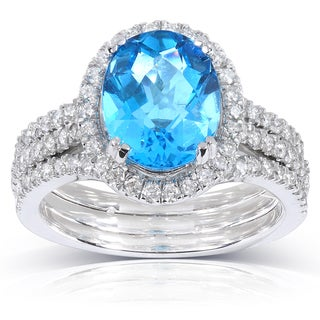 Annello 14k White Gold Blue Topaz and 4/5 ct TDW Diamond Ring (H-I, I1-I2)