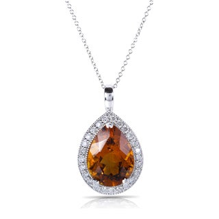 Annello 10K/14k White Gold Orange Citrine and 3/8 ct TDW Diamond Pendant (H-I, I1-I2)
