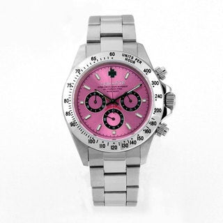 Bilette Unisex Stainless Steel Pink Dial Chronograph Watch