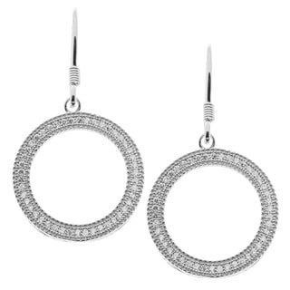 La Preciosa Sterling Silver Cubic Zirconia Pave Open Circle Earrings