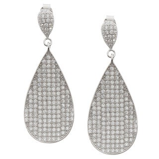 La Preciosa Sterling Silver Cubic Zirconia Pave Teardrop Earrings