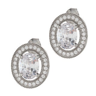 La Preciosa Sterling Silver Cubic Zirconia Oval Earrings