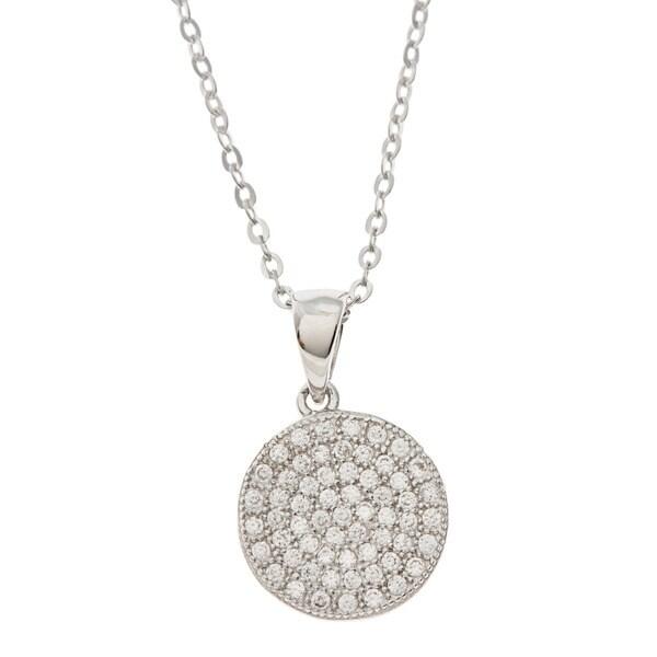 La Preciosa Sterling Silver Cubic Zirconia Pave Disc Necklace