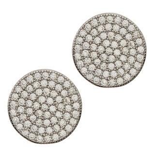 La Preciosa Sterling Silver Cubic Zirconia Disc Earrings