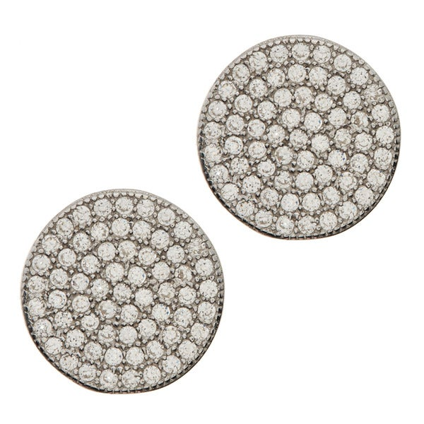La Preciosa Sterling Silver Cubic Zirconia Disc Earrings