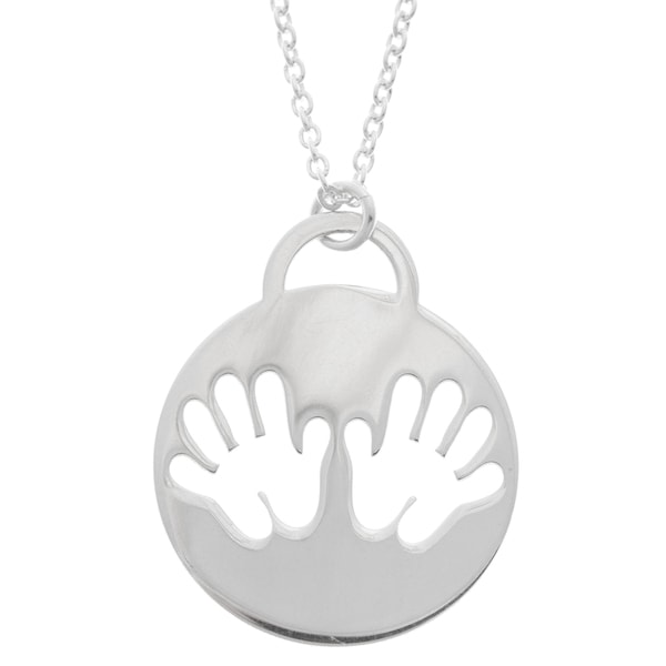 La Preciosa Sterling Silver Handprint Outline Circle Necklace