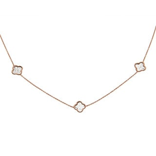 La Preciosa Sterling Silver Rose-goldtone Clover Necklace