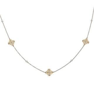 La Preciosa Sterling Silver 36-Inch Two-Tone CZ Necklace