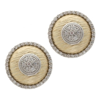 La Preciosa Two-tone Sterling Silver Cubic Zirconia Circle Earrings