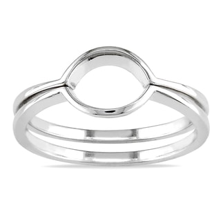 Miadora 14k White Gold Women's Contour Wedding Band Set