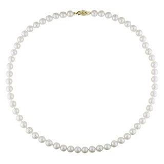 Miadora 14k Yellow Gold Akoya White Pearl Necklace (6.5-7 mm)