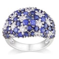 Miadora Sterling Silver Blue and White Sapphire Ring