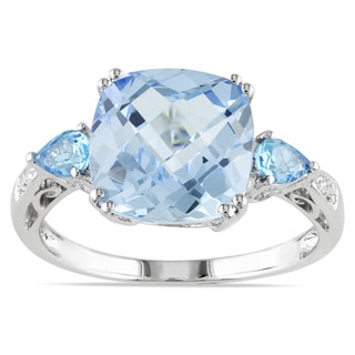 Miadora Sterling Silver Aquamarine, Blue Topaz and Diamond Ring