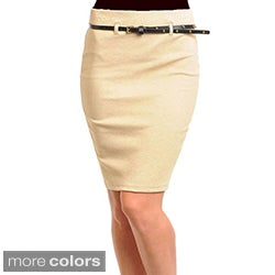 Stanzino Women's Solid Skirt with Studded Belt