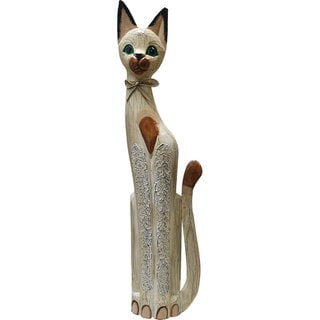 Hand-Carved Whitewash Textured Cat Statue (Indonesia)