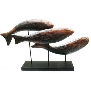 Hand-Carved Fish School Statue (Indonesia)