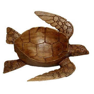 Hand-Carved Wood Turtle Bowl (Indonesia)