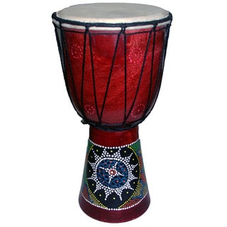 Hand-painted Aborigine Design 16-inch Drum (Indonesia)