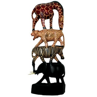 Hand-carved Stacked Animals Column (Kenya)