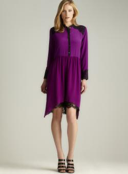 Nicole Miller Lace Hi-lo Button Down Dress
