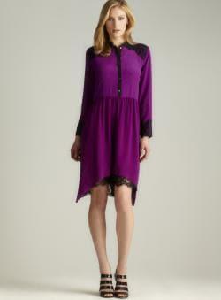 Nicole Miller Lace Hi-lo Button Down Dress