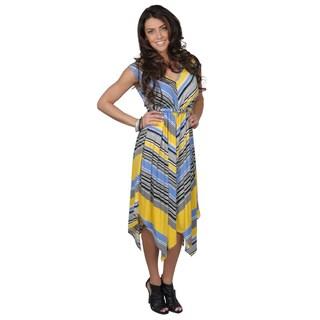Sangria Women's Asymmetrical Hem V-neck Dress