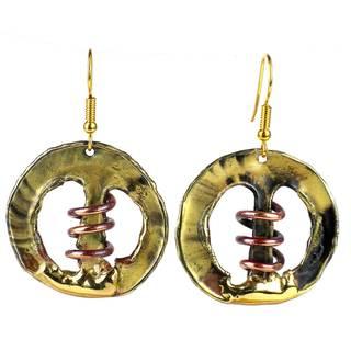 Handmade Copper Spring Brass Earrings (South Africa)