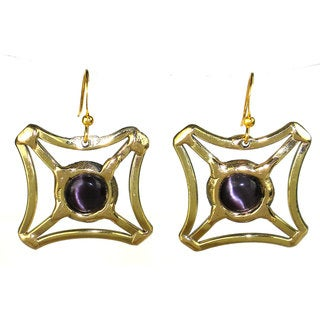 Handmade Purple Tiger Eye Square Earrings (South Africa)