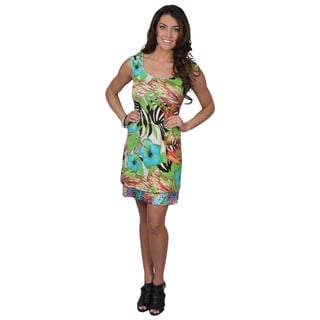 Sangria Women's Tropical Print Reversible Cap Sleeve Dress