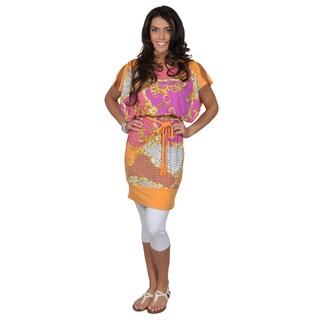 Sangria Women's Cinched Waist Belted Scoop-Neck Orange Dress
