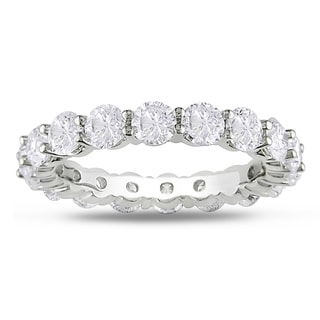 Miadora Signature Collection 18k White Gold 4ct TDW Round Diamond Eternity Band (G-H, I1-I2)