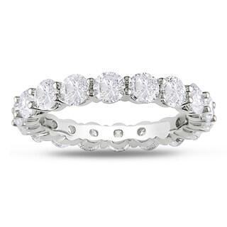 Miadora Signature Collection 18k White Gold 4ct TDW Round Diamond Eternity Band (G-H, I1-I2)