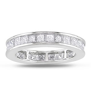 Miadora 14k White Gold 2 1/2ct TDW Princess Diamond Wedding Band (G-H, SI1-SI2)