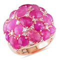 Miadora 18k Rose Gold Pink Sapphire 3/5ct TDW Diamond Ring (H-I, I1-I2)
