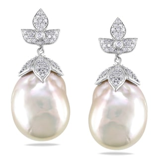 Miadora 14k White Gold 1 1/4ct TDW Diamond Baroque Pearl Earrings