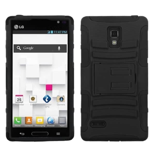 INSTEN Black Armor Phone Case Cover with Stand for LG Optimus L9 P769