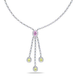 Miadora Signature Collection 14k White Gold 2 7/8ct TDW Diamond Sapphire Necklace (G-H, SI1-SI2)