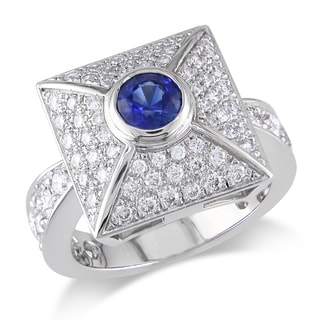 Miadora 18k White Gold 1 1/3ct TDW Diamond Sapphire Ring (G-H, SI1-SI2)