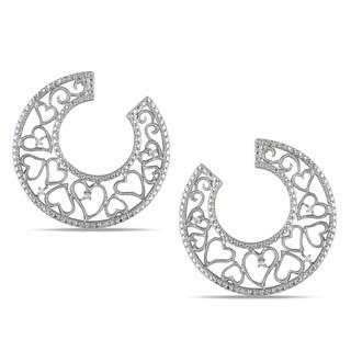 Haylee Jewels Sterling Silver Diamond Heart Design Hoop Earrings