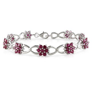 Miadora Sterling Silver Created Ruby Link Bracelet