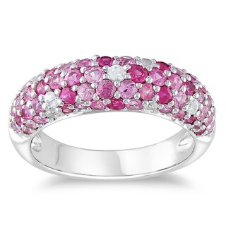 Miadora Sterling Silver Pink and White Sapphire Ring