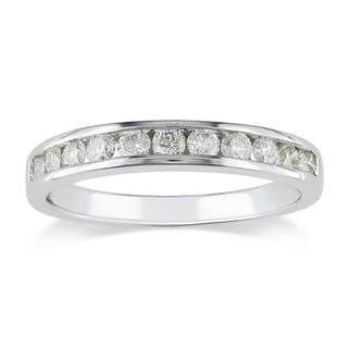 Miadora 14k White Gold 1/2ct TDW Diamond Wedding Band (L-M, I2-I3)