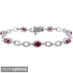 Miadora Sterling Silver Pink Sapphire or Ruby Link Bracelet