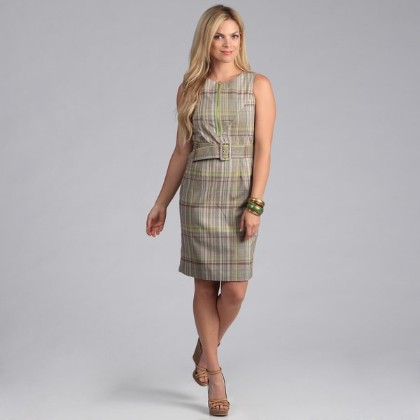 Amelia Women's Plaid Front Zip Dress