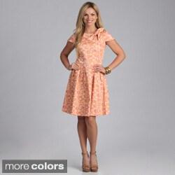 Amelia Women's Retro Print Bow-front Dress