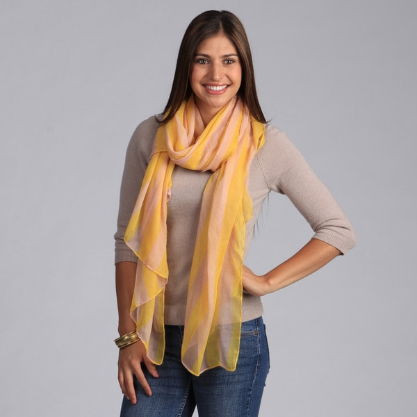 Peach Couture Summer Sailing Striped Yellow Chiffon Scarf